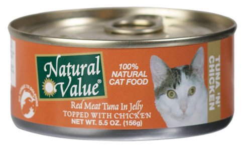 Natural Value Cat Food, Red Meat Tuna in Jelly Topped with Chicken, 5.5-Ounce Cans (Pack of 24), My Pet Supplies