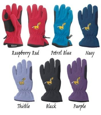 Embroidered Fleece Gloves (Equi-Star Childs Pony Fleece Gloves Raspberry Red, XS)