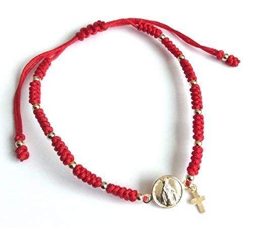 Virgin Mary Medal Adjustable Red String Bracelet Virgen la Milagrosa