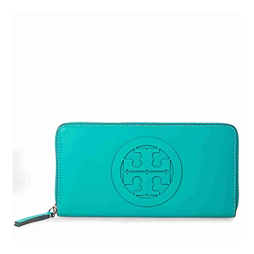 Tory Burch Charlie Leather Logo Zip Continental Wallet in Ribbon - Turquoise Tory Burch