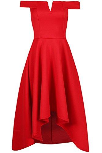 Be Jealous femmes épaule dénudée tranché col V bustier Hi Lo SWING Skater robe mi-longue UK grande taille 8-26 - Rouge, Plus Size (UK 24/26)