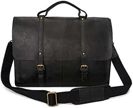 WUSHIYU Mens Messenger Bag Mens Briefcase Handbag Leather Business Bag Suitable for Business Casual Satchel Shoulder Bag
