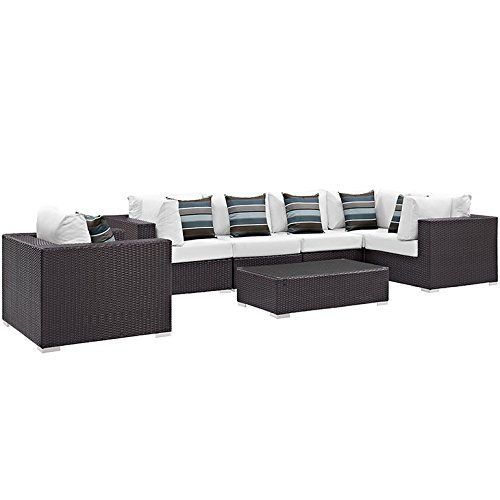 7 Piece Convene Outdoor Patio Sectional Set, Espresso White - Modway EEI-2350-EXP-WHI-SET