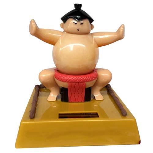 Misszhang-US 2Pcs/Set Solar Power Sumo Wrestler Kids Swing Toy Car Ornament Home Decoration