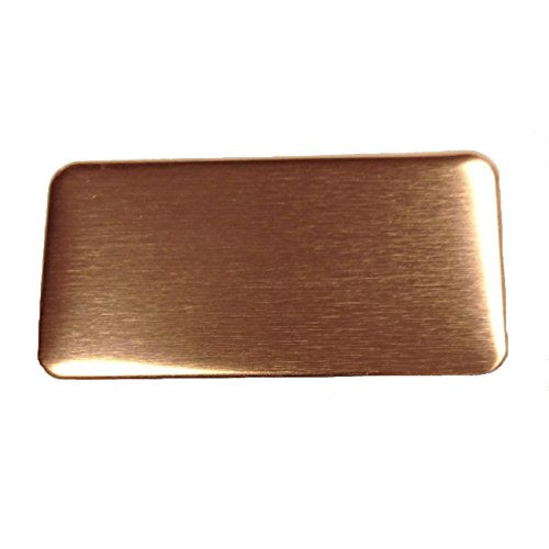 RMP Stamping Blanks, 1 Inch x 2 Inch Rectangle with Rounded Corners, 16 oz. Copper 0.021 Inch (24 Ga.) - 10 Pack