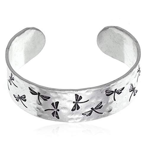 Dragonfly Cuff Bracelet - Anju Dragonfly Cuff Bracelet - Silvertone Hammered Finish Adjustable Bracelet
