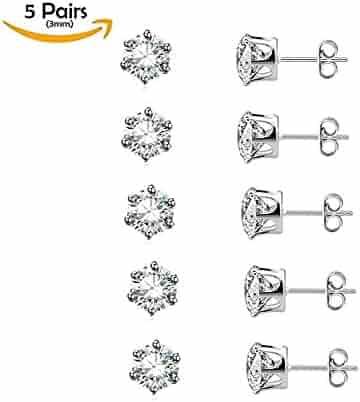 Stainless Steel Hypoallergenic CZ Earrings Studs 5 Pairs (3mm) Fashion Jewelry Sets for Sensitive Girls Women & Men' Cartilage, Ear Piercing
