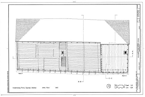 Structural Drawing HABS KANS,101-HAN.V,1- (sheet 3 of 10) - Hollenberg Pony Express Station, Route 243, 6.9 miles south of Nebraska border, Hanover, Washington County, KS 66in x 44in (Pony Express Route)