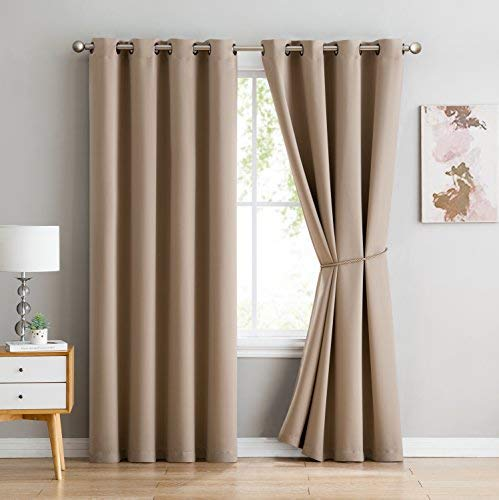 Nicole - 1 Patio Extra Wide Premium Thermal Insulated Blackout Curtain Panel - 16 Grommets - 102 Inch Wide - 96 Inch Long - Ideal for Sliding and Patio Doors (1 Panel 102x96, Taupe)