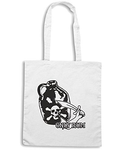 T-Shirtshock - Bolsa para la compra T0813 pirates only rum calcio ultras Blanco