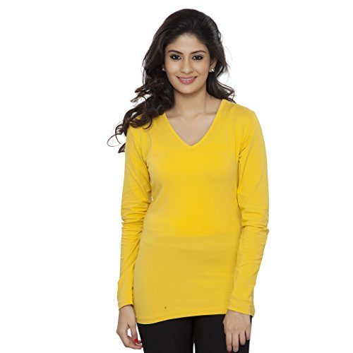 Clifton Fine Jersey Womens Full Sleeve T-Shirt V-Neck - Bright Yellow - Large - Bright Yellow T-shirt Tee