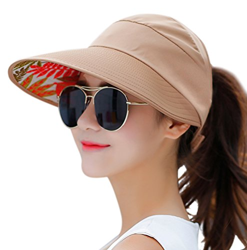 Khaki Womens Visor - HINDAWI Sun Hat Sun Hats for Women Wide Brim UV Protection Summer Beach Packable Visor Khaki
