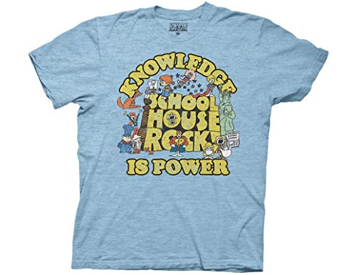 - Ripple Junction Schoolhouse Rock Knowledge is Power Logo Group Adult T-Shirt Large Heather Light Blue