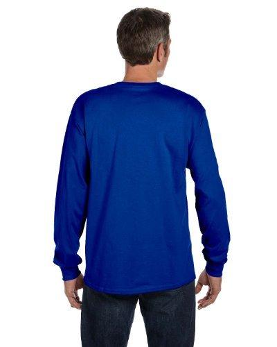 Hanes Men's TAGLESS Long-Sleeve T-Shirt with Pocket_Deep Royal_XL