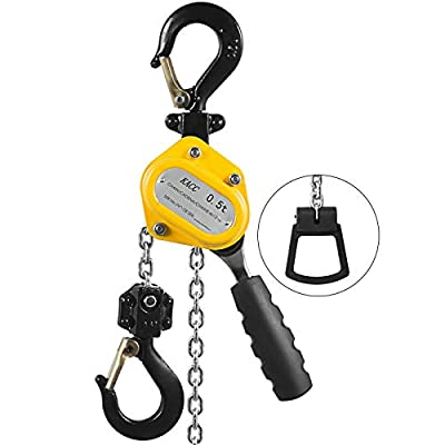 Mandycng 1100Lbs 5Ft Portable Versatile Lever Hoist Chain Commercial Warehouse Material Handling Transport Auto Garage w/Brake Construction Mine CNC Mold Lifter Emergency Rescue Team Tool