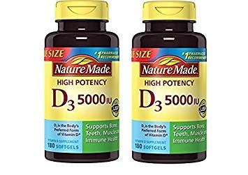 Nature Made Vitamin D3 5000 IU Ultra Strength Softgels Value Size (360 Count)