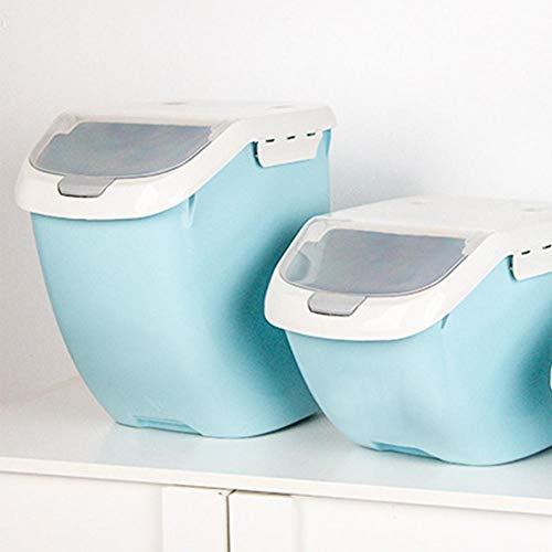 Blu 21 * 26 * 34cm Cereali Funihut Bottiglie Scatola di stoccaggio per Cereali 15 kg Scatola di Cibo per Animali Contenitore per Cibo in plastica Trasparente