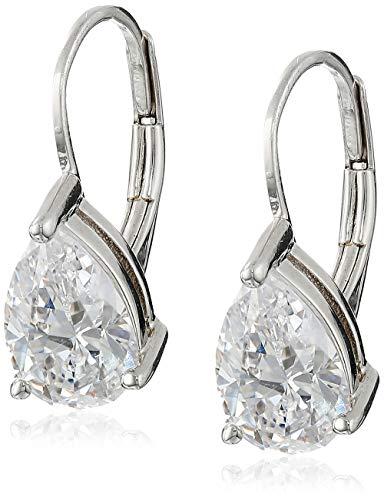 Platinum Plated Sterling Silver Teardrop Cubic Zirconia Earrings (4 ()