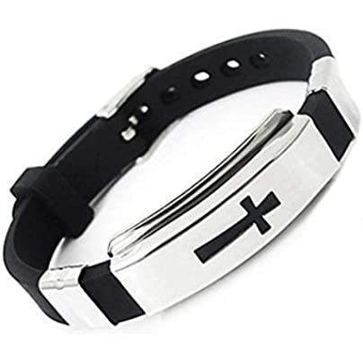 Swiftswan Stainless Steel Silicone Religious Cross Bracelet Sporty Wristband with Adjustable Watch Buckle Estimated Price £0.09 -