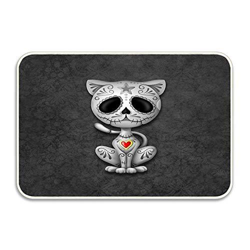 (Jugbasee Dark Zombie Sugar Kitten Cat Indoor Front Door Doormats Non-Slip Washable Welcome Mat,Office Mat Bedroom Home Kitchen Inside Carpet 16x24in )
