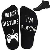 Ankle Socks Novelty Crew Funny Fortnite Socks 2 Pairs Cotton Non Slip Socks for Men Kids Boys Great Gift for Fortnite Lovers,Black (Black)