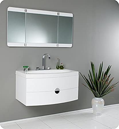 Fresca Energia 36u0026quot; White Modern Single Bathroom Vanity W/ Three Panel  Folding Mirror FVN5092PW