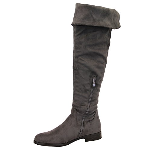 Look Womens Casual Winter Over Suede Fashion The Knee Grey Long Boots Y808 Ladies Kelsi Shoes 5wqxav88