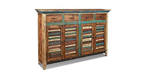 Crafters and Weavers Rustic Distressed Reclaimed Solid Wood 4 Drawer 4 Door Sideboard / Multi Use Cabinet / Bar