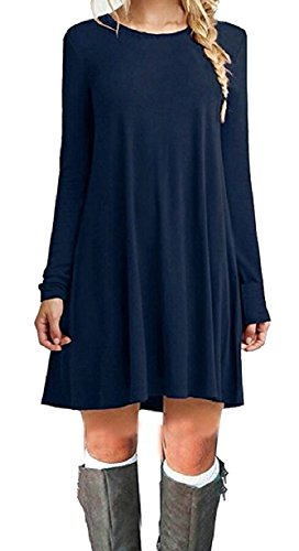 Long Dresses Loose 1 Party Casual Women Shirts T Sleeve Swing Jaycargogo O8gqwZw