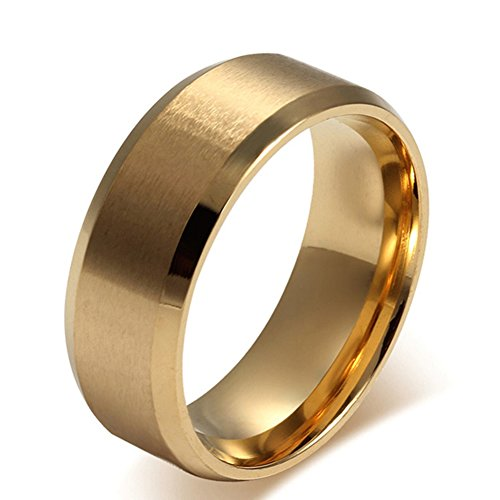 SAINTHERO Mens Womens Wedding Bands Classic 8MM Titanium Steel Gold Plated Promise Rings for Him High Polish Comfort Fit Size 10 -