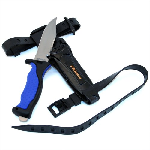 (Promate Sharp Tip Titanium Dive Knife - KF593, Blue/Black, Sharp Tip)