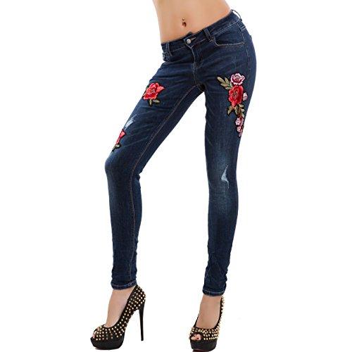 Slim E1303 Denim Nuovi Zip Toocool Fit Skinny Jeans Blu Fiori 3a Donna Pantaloni Aderenti nw1XU