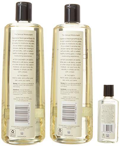 2 Pack of Neutrogena Body Oil Light Sesame Formula, 2-16 fl. oz bottles, Total of 32 fl. oz. by Neutrogena (Image #4)