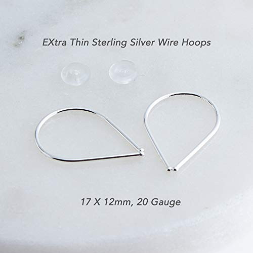 Solid Sterling Silver Thin Wire 20 Gauge Drop Horseshoe Arc Earrings (20 Gauge Size Horseshoes)