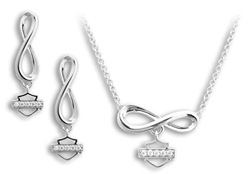 Harley-Davidson Women's Bling Infinity Necklace & Earrings Gift Set HDS0009-18
