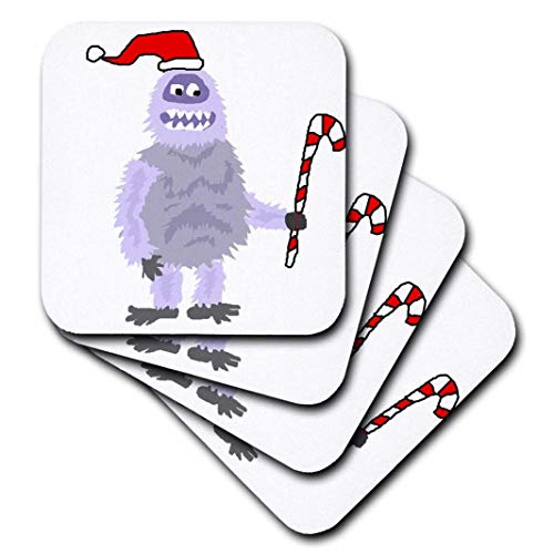 - 3dRose cst_252600_1 Funny Cute Christmas Abominable Snowman in Santa Hat, set of 4 Soft Coasters