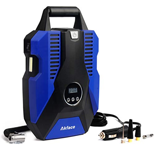 Akface DC 12V Portable Air Compressor Pump for Car, Bicycle, Motorcycle, Balls, Inflatable Pool and Other Inflatables, Digital Display up to 150PSI, Auto Shut Off Accurate Pressure Control, Blue (Best 12v Air Compressor)