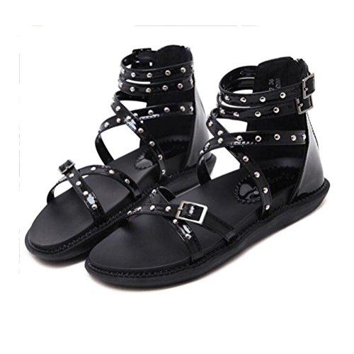 Sandalias Casuales Señoras Sandalia Talón De Highxe La Impermeable Mujer Plataforma Zapatos Cross Cremallera Black Toe Open Rivet Posterior Tacón RgCvqx
