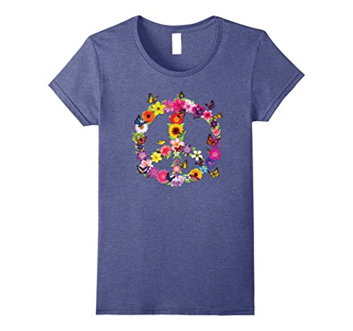 Womens Butterfly Peace Sign Floral Flower Garden Nature T-Shirt XL Heather - Sign Floral Peace