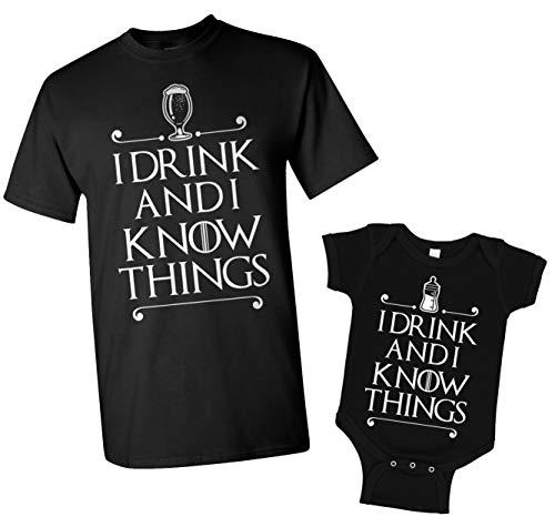 I Drink and I Know Things Men's T-Shirt & Infant Bodysuit Matching Set [Men: 2X, Black/Baby: 12M, Black]