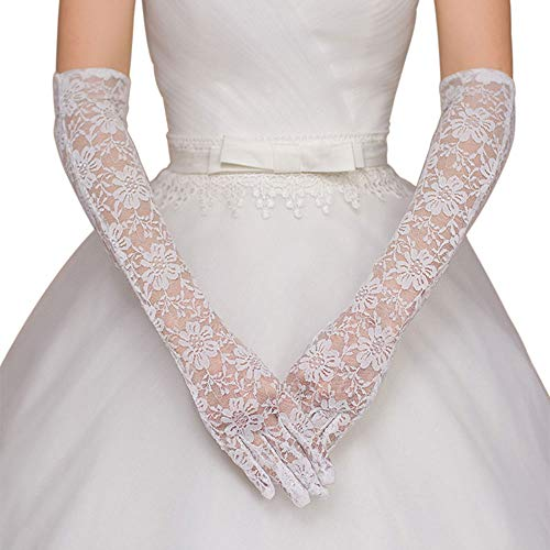 Deceny CB Floral Lace Gloves for Women Long Wedding Gloves Elbow Length Gloves (White)