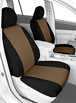 CalTrend Front Buckets Custom Fit Seat Cover for Select Subaru Outback Models - NeoSupreme (Beige/Black)