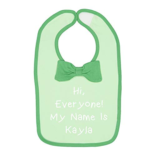 Kayla Mint - Hi, Everyone! My Name is Kayla - Personalized Name Baby Cotton Bow Tie Baby Bib (Mint/Grass)