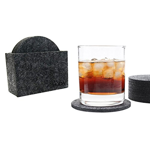 (HODA Coasters for Drinks Absorbent Felt Coasters with Holder The Best Coaster Gift Set of 8 - Round)