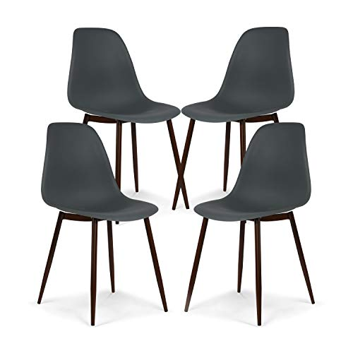 Poly and Bark Landon Contemporary Kitchen Dining Sculpted Mid-Century Side Chair, Smoke Gray Set of 4