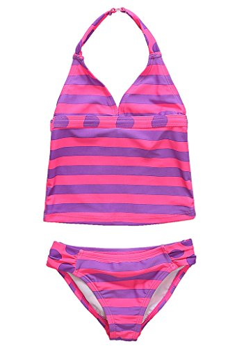 Attraco Little Girls Halter-Neck Stripe Polka Dot Two Piece Swimsuit , Purple, 5