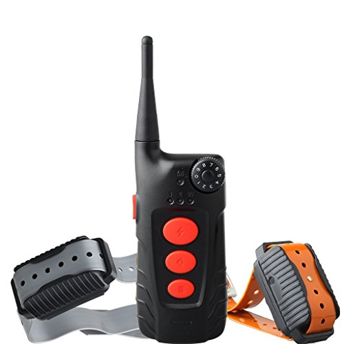 Aetertek Dog Pet Barking Electronic Shock Training Collar Remote Control Wireless E-collar Rechargeable and Waterproof (Two dog training system)