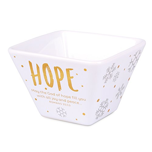 Lighthouse Christian Products White & Gold Hope Ceramic Christmas Bowl