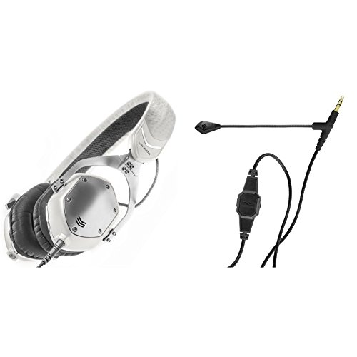 V-MODA XS On-Ear Folding Design Noise-Isolating Metal Headphone (White Silver) with BoomPro Microphone for Gaming & Communication (Monster Dna Noise Isolating On Ear Headphones)