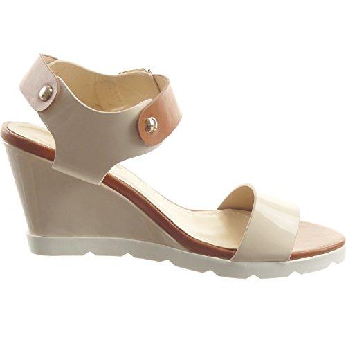 Sopily - damen Mode Schuhe Sandalen Offen Plateauschuhe glänzende Schleife - Beige